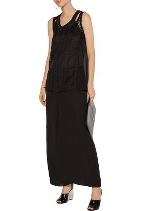 MAISON MARGIELA Layered crochet-knit and georgette top