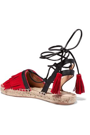IRIS AND INK Lace-up suede and leather espadrilles
