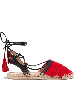 IRIS & INK Lace-up suede and leather espadrilles