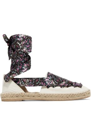 IRIS & INK Floral-print lace-up textured-leather espadrilles