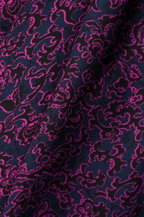 DEREK LAM 10 CROSBY Lace-up printed silk-chiffon top