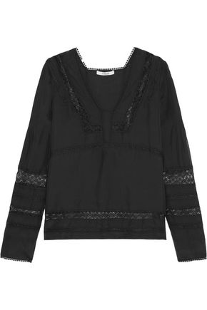 DEREK LAM 10 CROSBY Embroidered tulle-paneled silk blouse