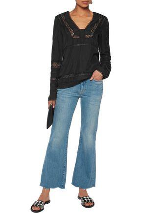 10 CROSBY DEREK LAM Embroidered tulle-paneled silk blouse