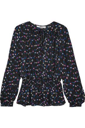 10 CROSBY DEREK LAM Ruffled printed silk-chiffon blouse