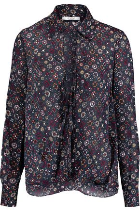 10 CROSBY DEREK LAM Wrap-effect printed silk-crepe top