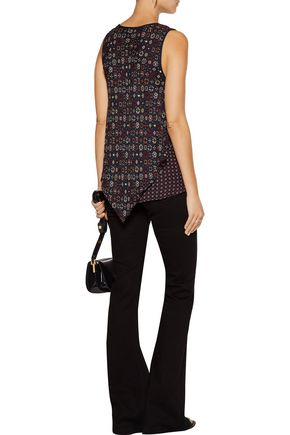 10 CROSBY DEREK LAM Layered printed silk crepe de chine top