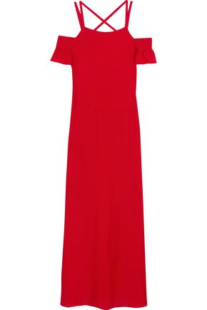 ADRIANA DEGREAS Cold-shoulder voile maxi dress