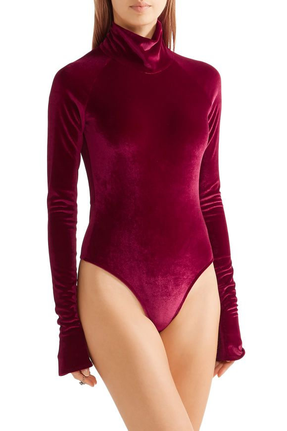 Cutout stretch-velvet turtleneck bodysuit | ALIX | Sale up to 70% off | THE  OUTNET