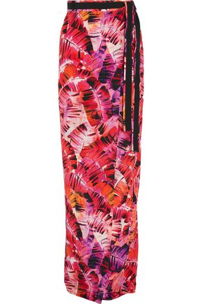 MATTHEW WILLIAMSON Parlatuvier Palm printed silk-charmeuse wrap skirt