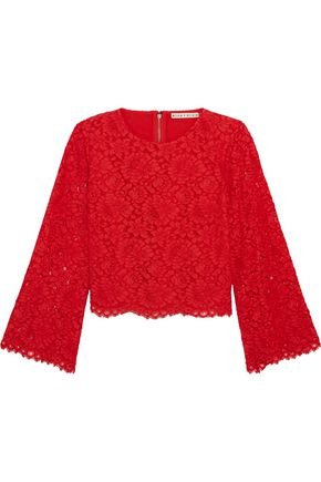 ALICE + OLIVIA Scalloped corded lace top