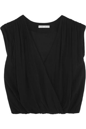 ALICE + OLIVIA Wrap-effect cropped cady top