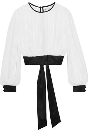 ALICE+OLIVIA Pleated cropped georgette and stretch-silk satin top