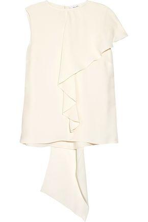 MAX MARA Magda asymmetric draped silk crepe de chine top