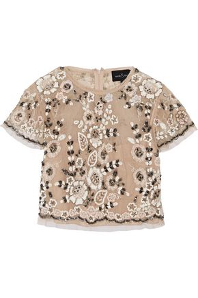 NEEDLE & THREAD Petal embellished tulle top