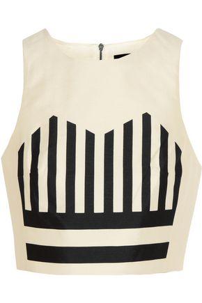 TIBI Escalante cropped striped silk-shantung top
