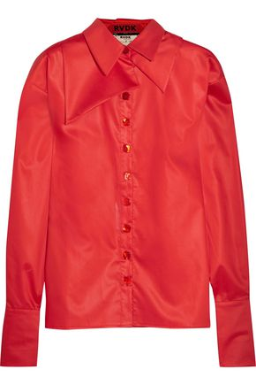 RONALD VAN DER KEMP Oversized silk-trimmed cotton-sateen shirt