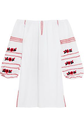 SENSI STUDIO Off-the-shoulder embroidered cotton mini dress