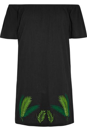 SENSI STUDIO Off-the-shoulder embroidered crinkled-cotton mini dress