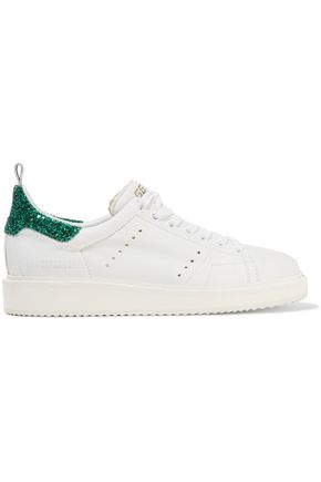 GOLDEN GOOSE DELUXE BRAND Starter glitter-trimmed leather sneakers
