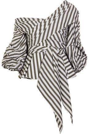 JOHANNA ORTIZ Santa Rosa wrap-effect cotton-blend poplin top