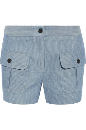 PAUL & JOE Striped cotton and linen-blend shorts