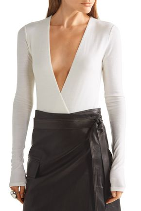 PROTAGONIST Wrap-effect wool-blend jersey bodysuit