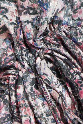 IRO Elsa gathered metallic printed silk-blend top