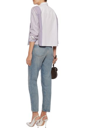 SONIA RYKIEL Paneled ruffled striped cotton-poplin shirt