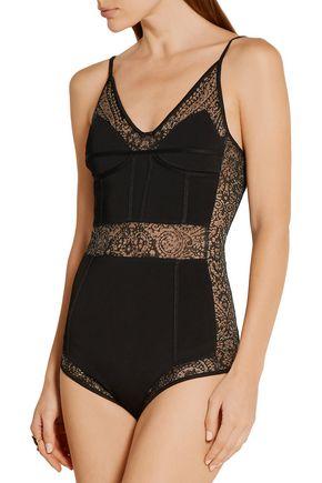 BALMAIN Lace-paneled ponte bodysuit