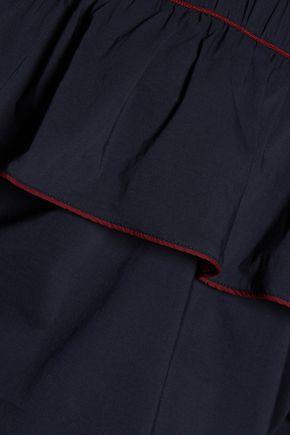GANNI Cold-shoulder cotton-blend top