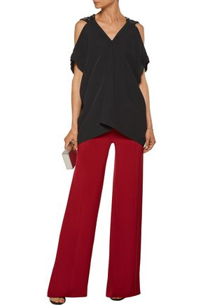 ROLAND MOURET Leo cold-shoulder embellished crepe top
