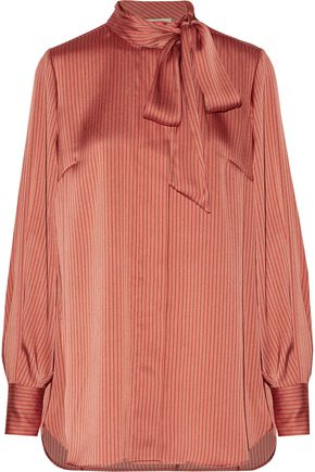 BY MALENE BIRGER Aluda pussy-bow striped satin top