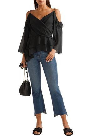 RACHEL ZOE Renee off-the-shoulder silk-georgette top