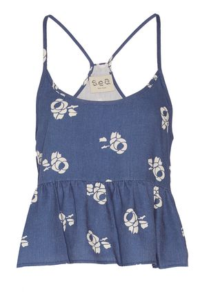 SEA Printed cotton and linen-blend camisole