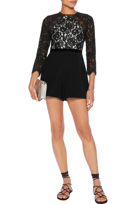 Tammy corded lace and crepe playsuit   ALEXIS   Sale up to 70% off   THE  OUTNET