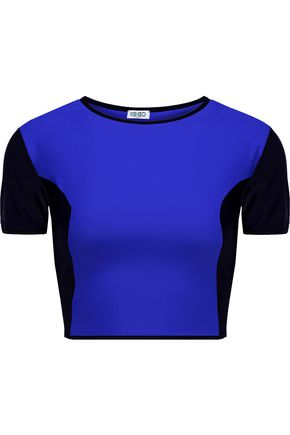 KENZO Cropped two-tone rash guard