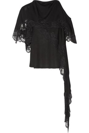 GIVENCHY One-shoulder asymmetric lace-trimmed jersey top