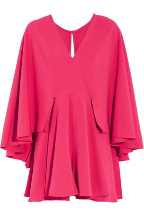 MILLY Ruffled stretch-cady playsuit