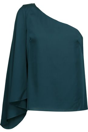 MILLY Tori one-shoulder stretch-silk top