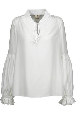 HAUTE HIPPIE Ruffled crepe de chine blouse