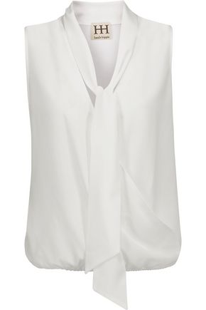 HAUTE HIPPIE Pussy-bow wrap-effect crepe de chine blouse