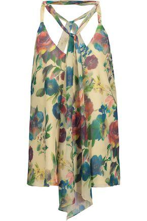 HAUTE HIPPIE Tie-front floral-print chiffon top
