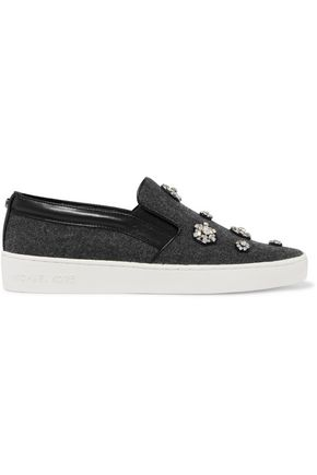 MICHAEL MICHAEL KORS Keaton leather-trimmed crystal-embellished flannel slip-on sneakers