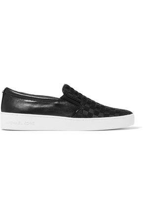 MICHAEL MICHAEL KORS Keaton woven grosgrain and leather slip-on sneakers