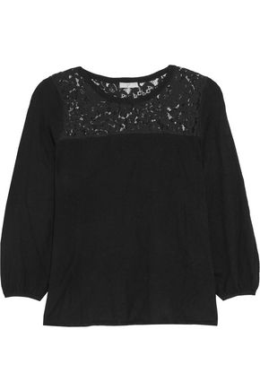 JOIE Lace-paneled stretch-knit top