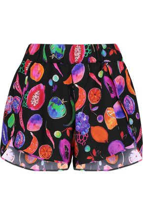 MATTHEW WILLIAMSON Petal printed silk-crepe shorts