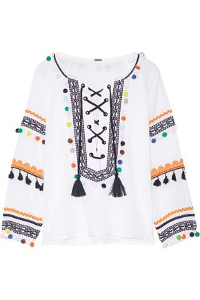 DODO BAR OR Embellished embroidered cotton-gauze top
