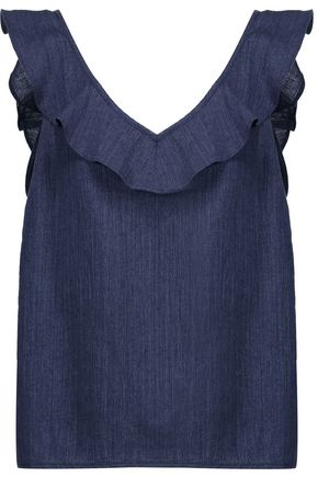 M.I.H JEANS Veeba ruffled cotton and linen-blend chambray top