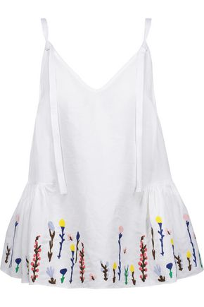 M.I.H JEANS Embroidered cotton and linen-blend peplum top