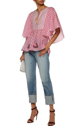 TALITHA Tasseled embellished printed cotton and silk-blend blouse